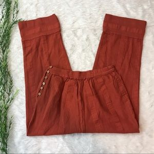 Free People Burnt Orange Button Crop Trousers